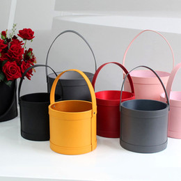 packaging bouquets Canada - High Quality Flower Bucket Flower Gifts Box Portable Bouquet Flower Packaging Boxes Leather Large Round Floral Wrapping Supplies CX200704