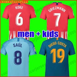09afa5191 TOP Thailand Atletico Madrid soccer jersey 2018 2019 GRIEZMANN KOKE GABI  SAUL DIEGO COSTA GODIN 18 19 Adult men kids football shirt uniforms