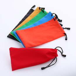folding sunglasses wholesale Australia - 5Pcs Black Microfiber Sunglasses Eyewear Pouch Spectacle Glass Cloth Bag Pouch Custom Glasses Pouch Optical Protecter Bags