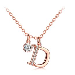 Letter D Pendant Australia - ERLUER D Letter Charm Necklace Fashion Wedding Jewelry Rose Gold Silver Color Zircon Necklaces & Pendants For Women Girls Gift