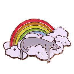 $enCountryForm.capitalKeyWord UK - Sleeping cat cloud needle cute rainbow brooch cartoon animal badge children gift creative lazy jewelry fun nap accessories