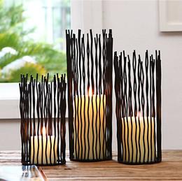 $enCountryForm.capitalKeyWord Canada - Black Modern Impressionism Candle Holder Cylindric Shape Wave Iron Wires Tabletop Decoration Crafts Romantic Wedding Centerpiece