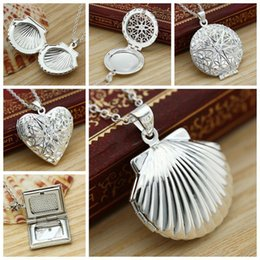 $enCountryForm.capitalKeyWord NZ - Square Pendant Picture shell Women Necklace Heart Silver Openable round Chain Photo Hollow Locket Water drop