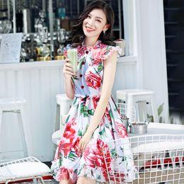 $enCountryForm.capitalKeyWord Australia - High Quality 2019 Fashion Summer Dress Women's Sleeveless Peony Floral Print Elegant High Street Button Applique Dress