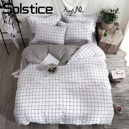 $enCountryForm.capitalKeyWord Australia - Home Textile Black Lattice Duvet Cover Pillowcase Bed Sheet Simple Boy Girls Bedding Sets 3 4Pcs Single Double Bedlinen