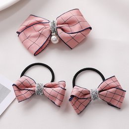 Discount princess ponytail - 3PCS Lot Girls Cute Plaid Bow Elastic Hair Bands Princess Headbands Rubber Bands Hair Rope Ponytail Holder Kids Accessor
