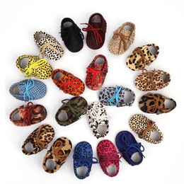 leopard hair shoes UK - Baby Shoes Genuine Leather Fringe Soft Bottom First Walkers Dot Baby Moccasins Horse hair Leather Leopard Lace Toddler shoes