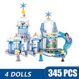Blocks For Girls Australia - 345PCS Small Building Blocks Toys Compatible with Legoe 2 In 1 Sparkling Ice Castle Gift for girls boys children DIY