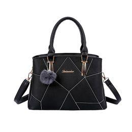$enCountryForm.capitalKeyWord Australia - Women Pu Leather Handbags Ladies Large Shoulder Bags Hair Ball Crossbody Bag good quality