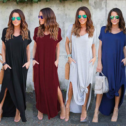 stylish ladies clothes NZ - Women Summer dresses Clothes Stylish Pullover Maxi Dress A type knit Casual Long Dress Short Sleeve Backless Lady Clothing Pocket