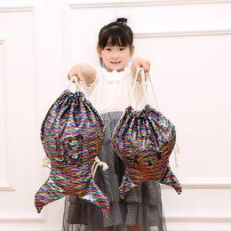 $enCountryForm.capitalKeyWord NZ - Mermaid Sequin Drawstring Backpacks Girls Magic Reversible Bling Shoulder Bag Glittering Drawstring Travel Pouch Storage Bag
