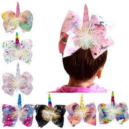 Chinese  Unicorn print Barrettes Bow Hair Clip cartoon Hair Bow With Clip kids Hair Accessories baby cosplay Bronzing Sequin headwear C6551 manufacturers