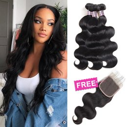 $enCountryForm.capitalKeyWord Australia - Big Sales Promotion Buy 3 Bundles Get One Free Closure Mink Brazilian Body Wave Peruvian Human Hair Bundles with Closure Free Part