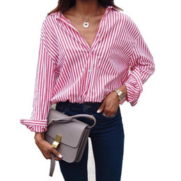 short office shirts women Canada - Women Striped Long Sleeve Blouse Shirt Female Loose Blusas Femme Autumn Casual Ladies Office Blouses Shirt Tops Plus Size S-5xl