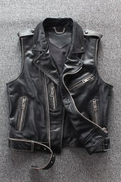 $enCountryForm.capitalKeyWord Australia - Men's Classic Leather Motorcycle Biker Vest Vintage Short Style Black Thick Cowhide Punk Vest Genuine Leather Zipper Sleeveless Jackets