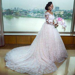 Covered baCk wedding dress line online shopping - African Full Lace Wedding Dresses V Neck Illusion Long Sleeves Bridal Gowns Sheer Back Buttons vestido de noiva Plus Size Wedding Dress