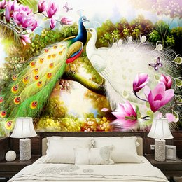 Peacock 3d Painting Australia - Custom 3D Wall Murals Wallpaper Hand Painted Flowers Birds Peacock Oil Painting Living Room Sofa TV Background Photo Wall Paper