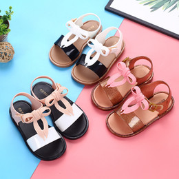 Red baby sandals online shopping - Melissa Children Sandals kids Bow shoelace princess shoes summer PVC Soft bottom baby girls shoes C6400