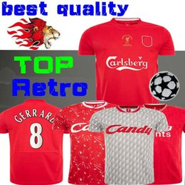 Wholesale 04 05 Final Istanbul Retro Soccer Jersey 8 Gerrard 2005 Smicer Alonso Hamann Campione Football Shirts Vintage 89 91 Maillot 1985 86 Salah