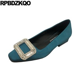 Discount genuine leather shoes diamond men - Square Toe Green Pink Beaded China Women Peacock Rhinestone Diamond Handmade Crystal Slip On 2019 Ladies Beautiful Flats
