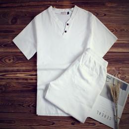 Men White Linen Casual Suits Australia - Special Offer Good Quality Flax Short Sleeve Trend Linen Big Size Buttons Decoration Casual Men Shorts T-shirt Casual Suit Set