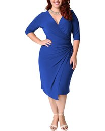 Wholesale sexy dresses for fat women resale online – 2020 Summer Sexy Party Dress For Fat Female Plus Size Vintage Dress XL XL Women Blue Deep V Neck Draped Tight Slim Midi Dress