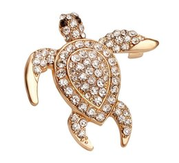 Swimming jewelry online shopping - Bling Full Zircon Swimming Turtle Brooch Badge Collar Pin Jeans Sweater Brooches Chest Pin Silk Scarf Pins Breastpin Jesery Overcoat Jewelry
