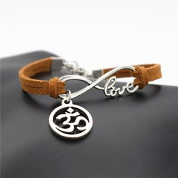 $enCountryForm.capitalKeyWord NZ - New Fashion Women Men Handmade Beautiful Jewelry Gifts Love Infinity OM Sign AUM OHM Symbol Yoga Charm Brown Leather Suede Bracelets Bangles