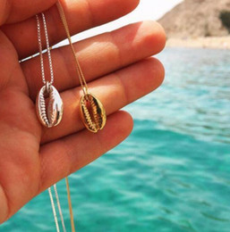 sea beach charms Australia - Women Gold Silver Beach Sea Shell Cowrie Pendant Charm Necklace Jewelry Gifts