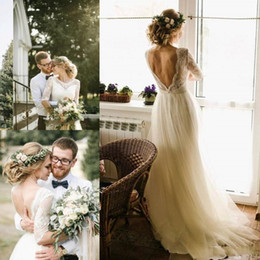 Half sleeve wedding dress tops online shopping - 2020 Country Beach Wedding Dresses Half Sleeves Scoop Neck Lace top A line Floor Length Backless Boho Bridal Gowns Custom Made