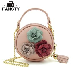 cute tassels phone 2019 - New Summer Women Floral Mini Circular Cross Body Bag Cute Girl Appliques Tassel Small Handbag Lady Chains Round Messenge