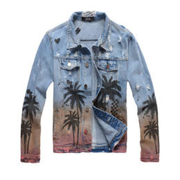 $enCountryForm.capitalKeyWord Australia - Men's Designer Jacket Denim Jacket Luxury Coco Print Spray High Street Fashion Trend Denim Tropical Style Old Washed Hole Top