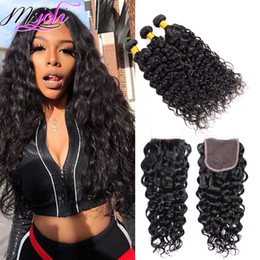 Lace weaves for bLack women online shopping - Msjoli Water Wave Hair Bundle With Lace Closure Unprocessed Peruvian Natural Black Human Hair Extension Weave With Frontal For Women Brazili