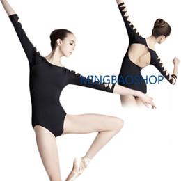 Leotard Cotton Gymnastics Australia - 3 4 Long Sleeve Women Dance Practice Leotard Cotton Spandex Gymnastic Open Back Leotard Suit Ballet for Women dance clothes