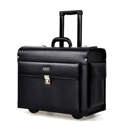 Discount flight cases - Genuine Leather Rolling Luggage Men Business Suitcase Wheels Trolley Pilot captain special Flight Case Travel Bags lapto