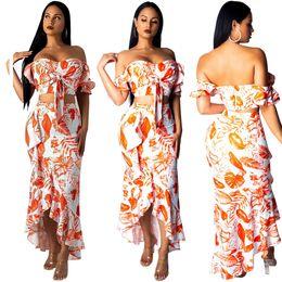 d1df5c955c8 Leaf Print Ruffle Two Piece Set Dress Strapless Off Shoulder Front Tie Crop  Top + Asymmetrical Maxi Skirt Summer Dresses