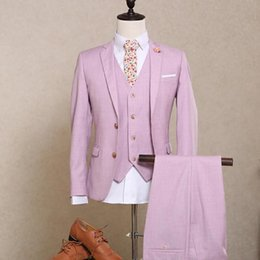 $enCountryForm.capitalKeyWord Australia - Hot!! 2018 New Men Suits Blazers Groom Wedding Light Pink Tuxedo Flat Single Breasted Wool Shiny Dinner Party Prom Suits Male