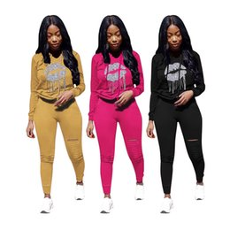 long lips NZ - Women ripped Tracksuit solid color Two piece set long sleeve hoodies bodycon pants fashion fall winter clothing lip print jogging suit 2347