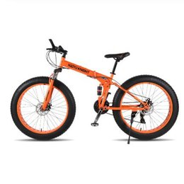 Folding bike white online shopping - Nueva Montaña de doble capa de acero bicicleta marco plegable velocidades Shimano frenos disco mecánico quot x4 bicicleta de grasa
