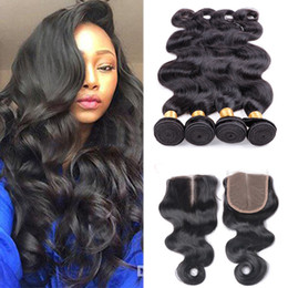 $enCountryForm.capitalKeyWord Australia - Body Wave Human Hair Bundles With 4''*4'' Lace Closure Cheap Human Hair Extensions 4 Bundles Lot Wet And Wavy With Closure Brazilian Hair