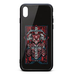 Vintage Tpu Case Australia - IPhone X Case,iPhone XS Case Metallica Vintage old robot rock 9H Tempered Glass Back Cover TPU Bumper Shock Absorption Phone Case