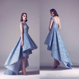 $enCountryForm.capitalKeyWord UK - Vintage Krikor Jabotian High Low Prom Dresses Appliqued Bateau Neck Formal Evening Gown Pleats Hollow Back Red Carpet Gowns