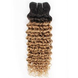 16 inch malaysian hair curly Australia - Indian Deep Wave Curly Hair Weave Bundles 1B 27 Ombre Honey Blonde Two Tone 1 Bundles 10-24 inch Peruvian Malaysian Human Hair Extensions