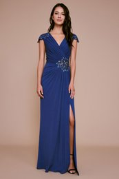 cheap blue caps NZ - 2019 Stunning Sheath Royal Blue Beaded Evening Dresses With Cap Sleeves V-Neck Zipper Back Long Formal Gowns Cheap Prom Dresses Evening Wear