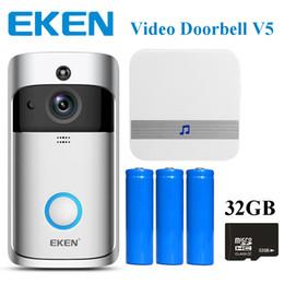 Vente en gros DHL EKEN Sonnette vidéo V5 Smart Home Bell Carillon Caméra 720P HD Wifi Vidéo en temps réel Audio bidirectionnel Vision nocturne Détection de mouvement PIR