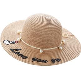 b0ac8c3d360fe 2019 new Summer Kids Hats pearl Girls Hats Fashion girls Straw Hat sweet kids  beach hat Sun Hat Children Caps A5091