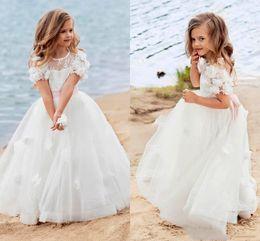 $enCountryForm.capitalKeyWord Australia - 2019 vintage White beach Flower Girl Dresses for Wedding jewel Tulle 3D flower Girls Pageant Dress boho Kids first Communion Formal Wear