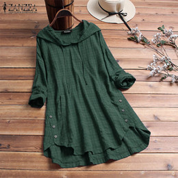 green plaid hoodie 2021 - ZANZEA 2019 Autumn Plaid Checked Hoodies Blouse Women Long Sleeve Shirt Casual Linen Tunic Tops Hooded Blusas Chemise Fe