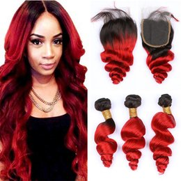 $enCountryForm.capitalKeyWord NZ - Black and Red Brazilian Wavy Human Hair Bundles with Closure Loose Wave 1B Red Ombre Virgin Hair Weave with Lace Closures