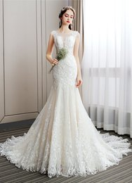 $enCountryForm.capitalKeyWord Australia - Luxury wedding dress 2019 new bride heavy handmade Hepburn French tailed slim Mermaid wedding dress white
